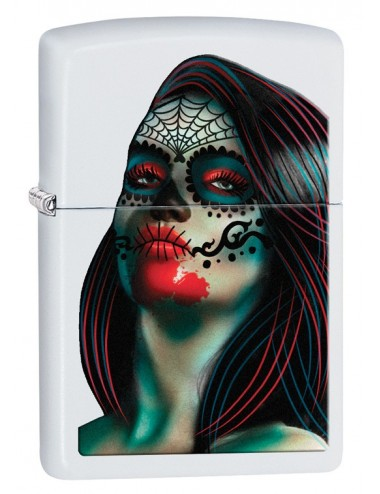 ZIPPO Day Of The Dead Lady Tattoo White Matte 29400