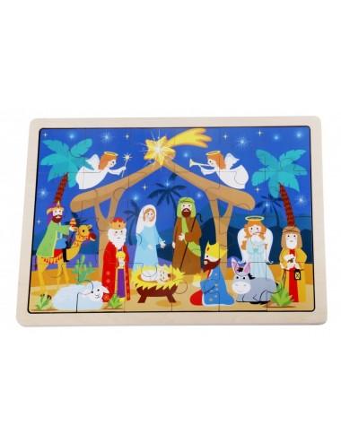 Tooky Toys  Ξύλινο Χριστουγεννιάτικο Παζλ Φάτνη  TY346